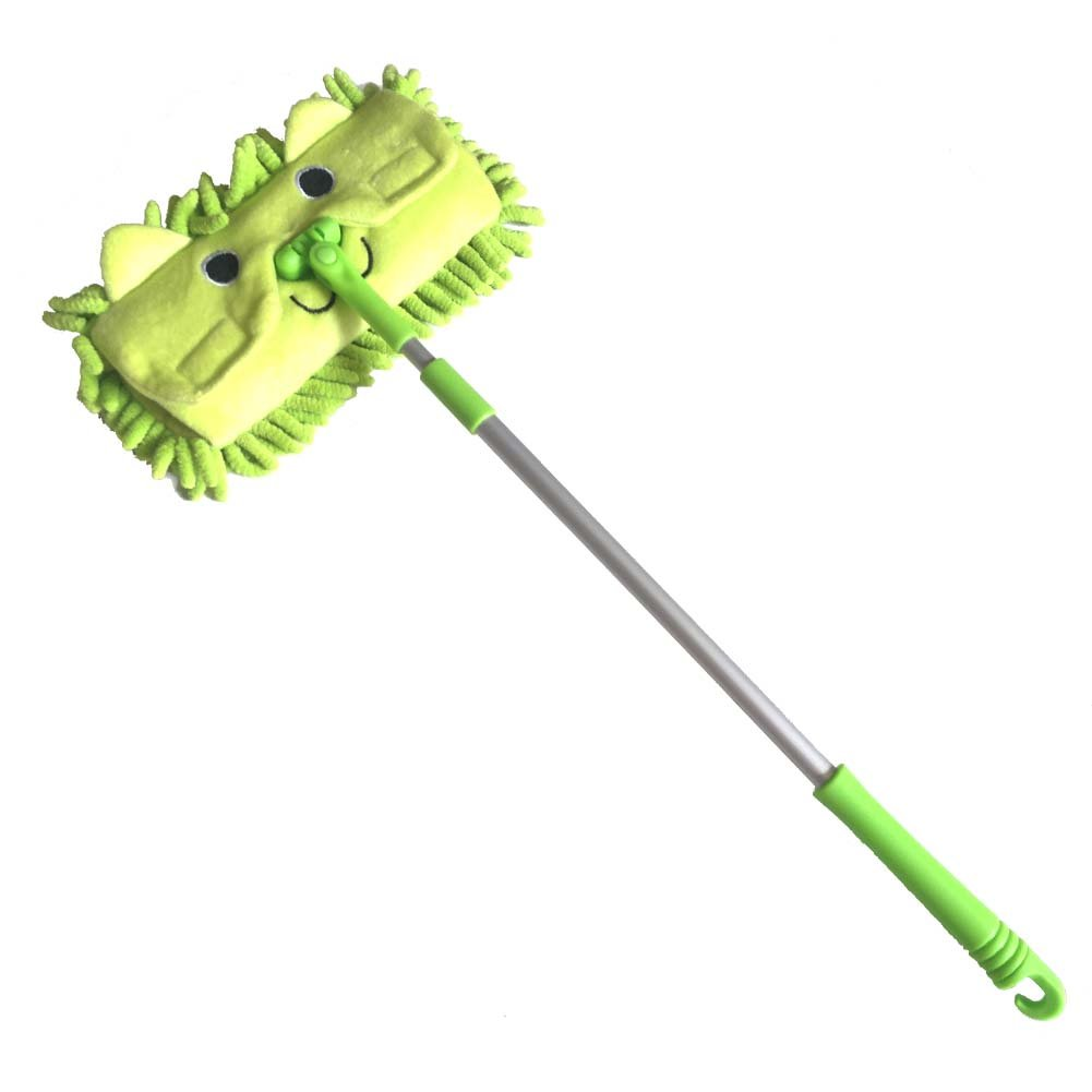 Xifan Mini Microfiber Chenille Cartoon Flat Dust Mop for Children,Detachable,360 degree rotation, Extension-type (Green)