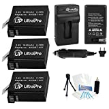 UltraPro 3-Pack AHDBT-401 High-Capacity Replacement Batteries with Rapid Travel Charger for GoPro Hero4. Also Includes: Camera Cleaning Kit - Camera Screen Protector - Mini Travel Tripod