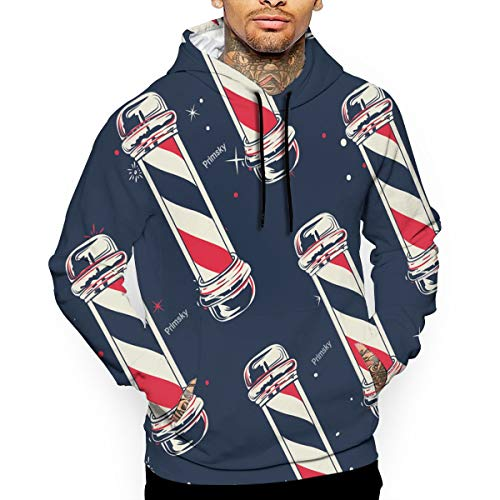 - HSUIIUG Vintage Barber Pole Flag.jpg Men's Novelty Hoodies with Drawstring Hood with Long Sleeves with Front Kangaroo Pocket