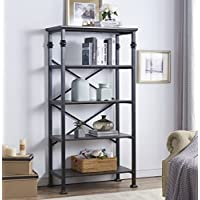 O&K Furniture 5-Tier Bookcase Shelves, Vintage Wood Metal Bookshelf Home Decor Display, Black-Espresso