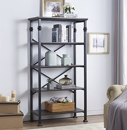 O&K Furniture 5-Tier Bookcase and Shelves, Vintage Wood and Metal Bookshelf for Home Decor Display, Black-Espresso