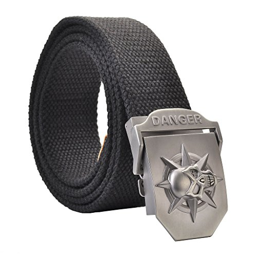 Black Skull Belt Buckle - Faleto Mens Customized Belt Buckles Military Automatic Adjustable Metal Buckle (Fit for belt in 1.5'' width, 14-Black Skull Belt-48 Length)