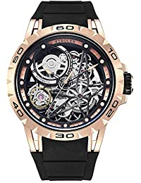 Men's Watch Skeleton Automatic Mechanical Stainless Steel Wrist Watches (Rose Gold)