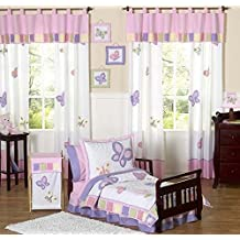 Pink and Purple Butterfly Collection Toddler Bedding 5 pc set by Sweet Jojo Designs