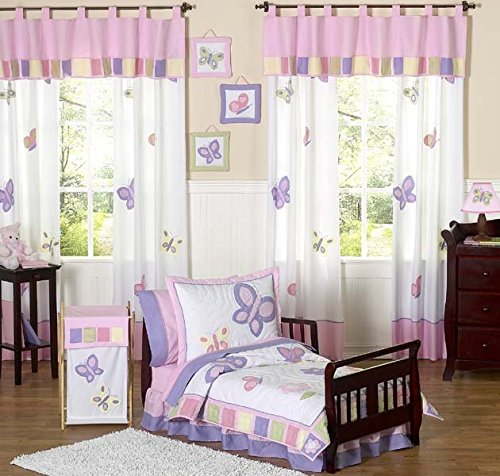 Pink and Purple Butterfly Collection Toddler Bedding 5 pc Set by Sweet JoJo -