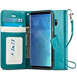 Galaxy S9 Plus Case, J&D [RFID Blocking Wallet] [Slim Fit] Heavy Duty Protective Shock Resistant Flip Cover Wallet Case for Samsung Galaxy S9 Plus - [Not for Galaxy S9] - Aqua