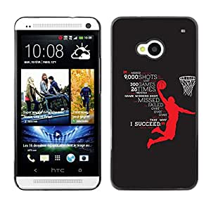 Planetar® ( Basketball Hero Success Succeed Star ) HTC One M7 Fundas Cover Cubre Hard Case Cover