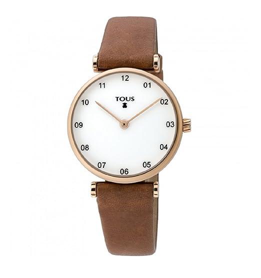 Reloj TOUS Camille de acero IP rosado con correa de piel marrón 700350080: Amazon.es: Relojes