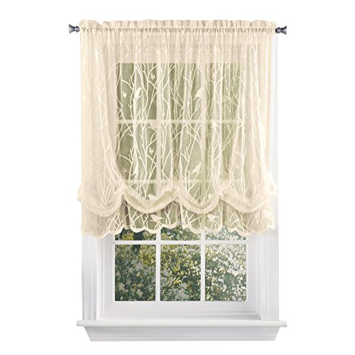 Collections Etc Songbird Shabby Chic Lace Balloon Shade Curtain, Ivory (Shades Lace)