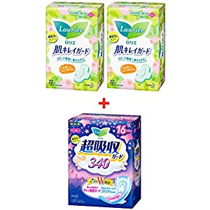 Kao Laurier Sanitary Pads Set - Sanitary Napkins Clean Skin Guard Day With Wings 20.5cm-2 packs x 22 pads & Speed+ Ultra-Absorbent Guard 340mm x 16 pads, Made In Japan
