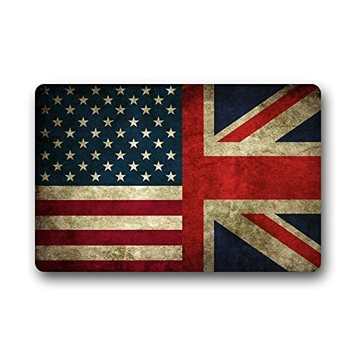Rug By Union - Homie Design Custom Union Jack American Flag Washable Doormat Rugs Top Fabric & Non-Slip Rubber Backing Entryways Carpet 23.6 X 15.7 Inch Indoor/Outdoors