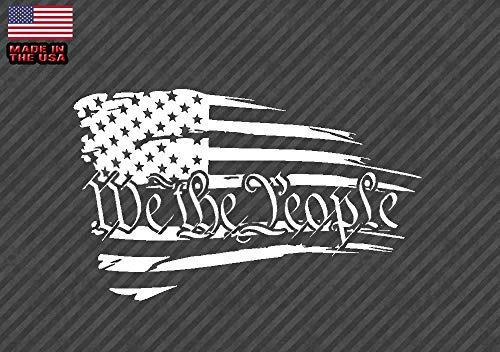 (OwnTheAvenue We The People American Tattered Flag - Decal Sticker White Choose Size #USA-WTP 5