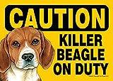 Killer Beagle On Duty Dog Sign Magnet Velcro 5x7