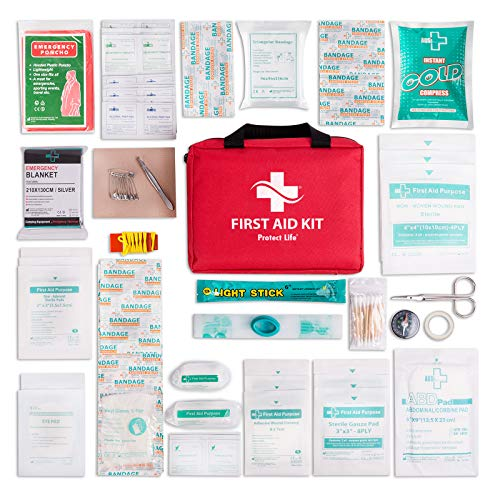 First Aid Kit for Car, Home, Traveling, Camping, Office or Sports | 200 Pieces Bag Equipped with Medical Supplies