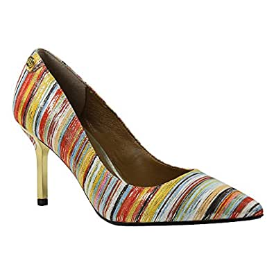 J. Renee Women's Bryanne Pump,Bright Multi Metallic Stripe Fabric,US 6 M
