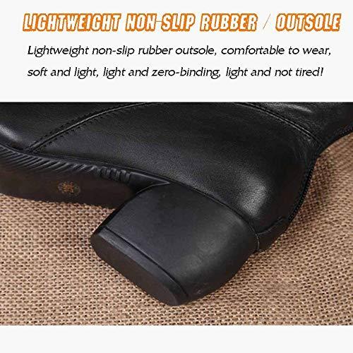 Utility Donna Comodi Lavoro Casual Stivali Zip Con Black Martin Invernali Tacco Da Medio Scarpe qqzPvcEr8