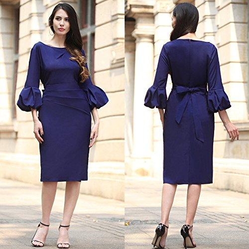 Fiesta De De Vestido De Para Un Vestido Vestido Mujer Largo Vestido Blue Manga Solo De Un Un Vestidos Paso Trompeta Fiesta JIALELE Mujer Para Mujer wqtpHdIIx