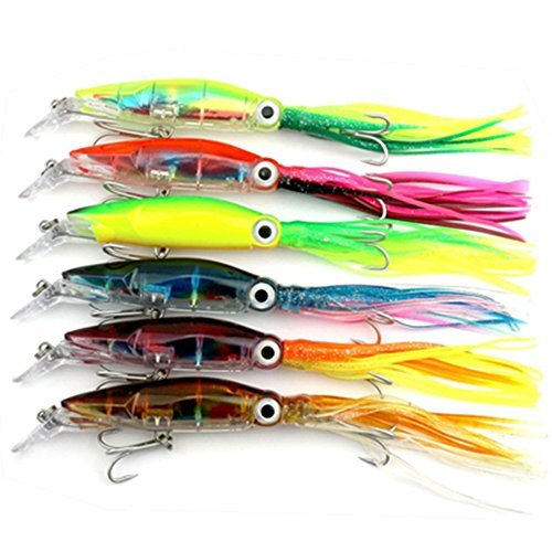 Aomeiter Squid Skirts Hard Fishing Lures, Lifelike Swimbait Octopus Bait with 2 Treble Minnow Hooks,1.4 OZ/5.1 IN, Pack of 6