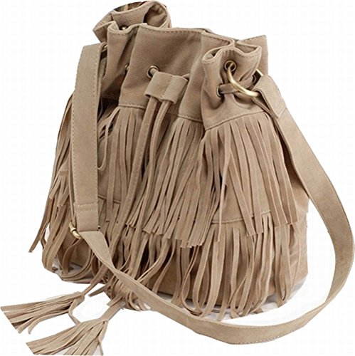 Stylish Fashionable Womens Cross-body Shoulder Bag Faux Suede Fringe Tassels (Khaki)