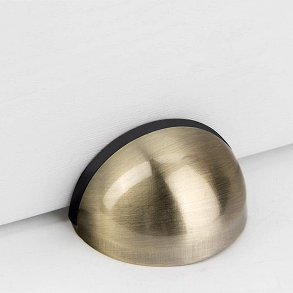 Red Antique fayle Door Stopper Protective Home Office Hotel Dual Usage Restaurant Baby Safety Sticker Anti Collision Floor Mounted Punch Holder Stainless Steel