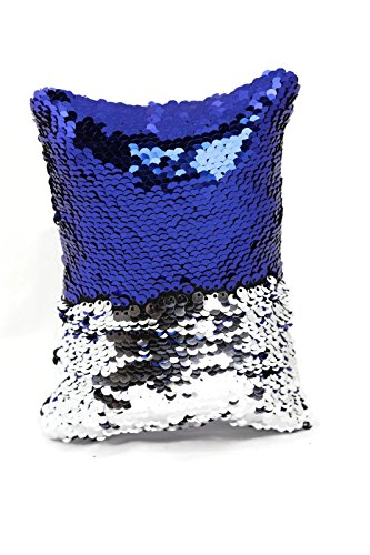 Little Monkey Fashion The Original Magic Sequin Fidget Pillow | Toy for Relaxing Therapy Increase Focus for Adults and Children | Helps with Stress ADHD ADD Autism | Royal Blue and Silver Rectangle -