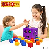 Unique Educational Sorting & Matching Toy For Toddlers By ETI Toys: Quality Colorful Sorter Cube Box With 19 Shapes-100% Non-Toxic Safe Materials-Promotes Fun Learning, Creativity & Skills Development
