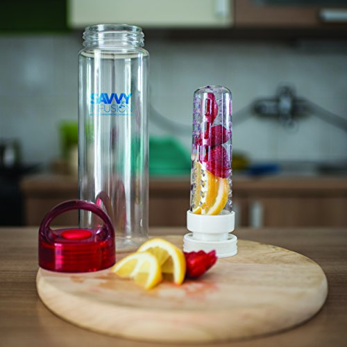 Savvy Infusion Water Bottles 24 or 32 Ounce Featuring Unique Leak Proof Sealed Cap w/ Handle Includes Bonus Recipe Ebook (Ships to you in either our original packaging or new updated packaging)