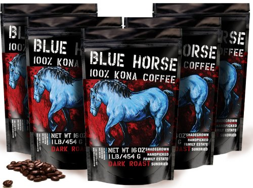 Farm-direct: 100% Kona Coffee, Dark Roast, Whole Beans, 5 Lbs by Blue Horse Kona Coffee