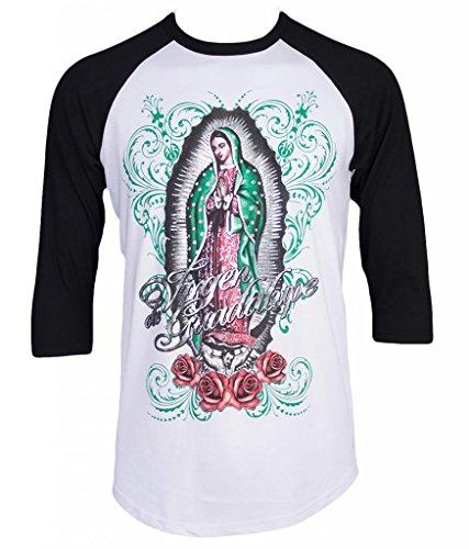 Virgen de Guadalupe Virgin Mary Mens Baseball T-Shirt (M, Black)