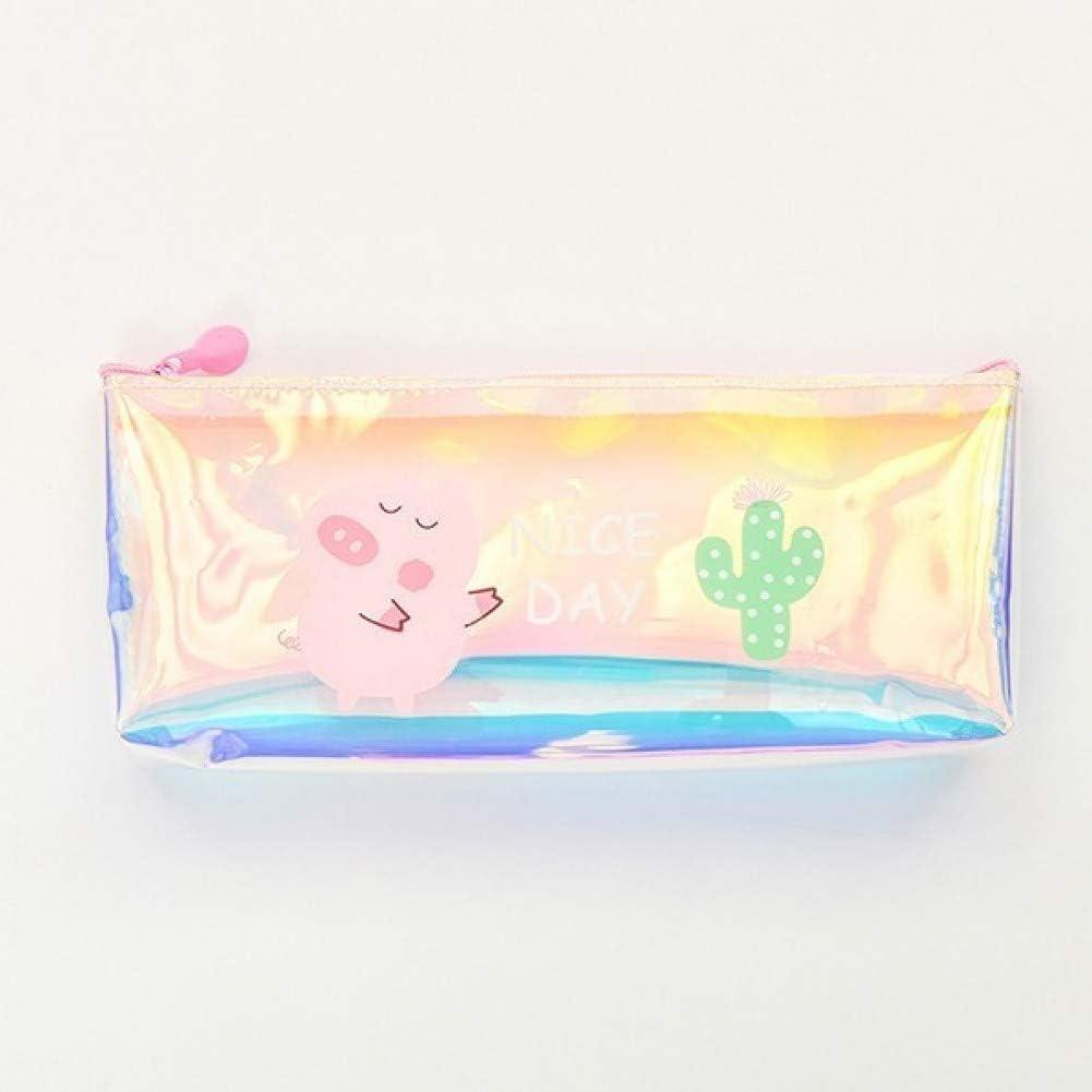 ASKHY Estuche Lapices Rainbow Cute Pig Pencil Case Pvc Pencilcase Carton Cactus Lápiz Bolsa Estudiante Escuela Suministros De Oficina Papelería Regalo,2: Amazon.es: Oficina y papelería