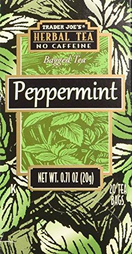 (Trader Joe's Herbal No Caffeine Peppermint Bag Tea 20 Tea Bags Very Refreshing and Soothing !!!)