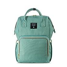 Sunveno Multifunction Mummy Backpack Travel Bag Baby Diaper Nappy Changing Handbag (Green01)