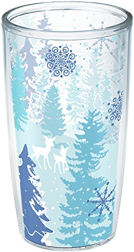 Tervis 1201121 Blue Christmas Insulated Tumbler with Wrap, 16oz, Clear