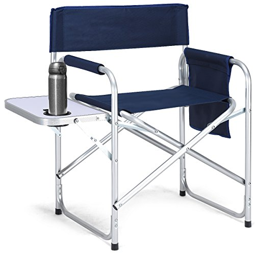Giantex Camping Directors Chair Folding Lightweight Aluminum Frame Breathable Oxford Fabric Outdoor Lawn Camp Fishing Portable Deck Chair W Cup Holder Side Table Storage Bag, Makeup Artist Chair