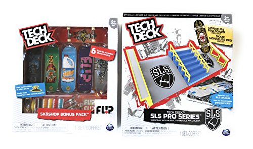 Tech Deck SLS Pro Series Handrail with Hubba Set and Skateboard 6-Pack Flip Series Bundle