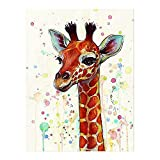 JUNERAIN Cartoon Giraffe Oil Painting Room Wall Drawing Art Canvas Picture Decor (S)