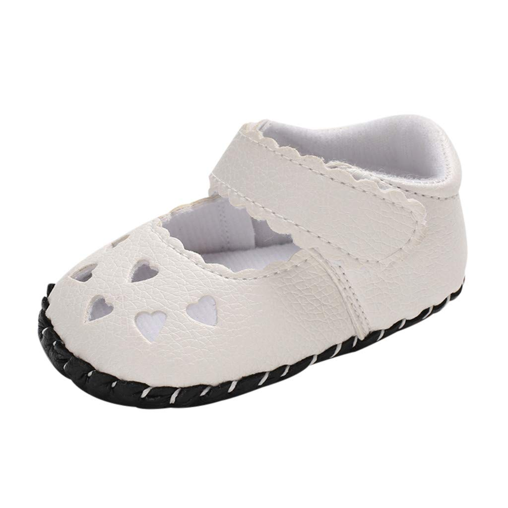 NUWFOR Infant Newborn Baby Girls Soft Sole Hollowing Out Princess Shoes Single Shoes(White,6~12 Month)