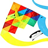 emma kites Mexico ELF 60in Delta Kite Rainbow Splicing for Beginner Kids Adults Easy to Fly - RTF kit including 320ft Kite String - Spring Breeze, Outdoor Games Activities