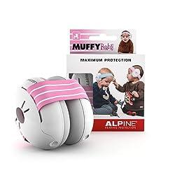 Alpine Baby Muffy Casque Anti-bruit Protection Auditive pour bébé et tout-petits - Casque antibruit jusqu'à 36 mois - Améliore le sommeil pendant les déplacements - réglable et confortable – Rosa