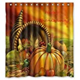 Happy Thanksgiving Day,Harvest Festival,pumpkin Bathroom 100% Polyester Shower Curtain (66' wide x 72' long)