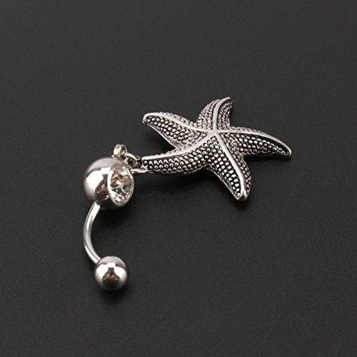 Piercing nombril étoile de mer argentée acier inoxydable