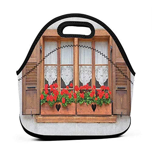 - Rugged Lunchbox Country,Print of Old European Windows with Shutters and Flowers Pots in Rurals Boho, Brown White Red,swiss army lunch bag for men