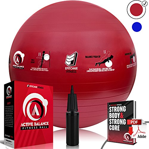 Active Balance 75cm Fitness Ball - Exercise & Stability Balls With Imprinted Exercises & Training eBook - Best Core Trainer For Pilates, Exercising & To Tone Abs (Red)