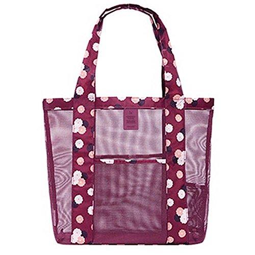 Mesh Strand Tasche Übergroße Taschen Spielzeug Einkaufstasche Einkaufstasche Einkaufstasche (L),Rot