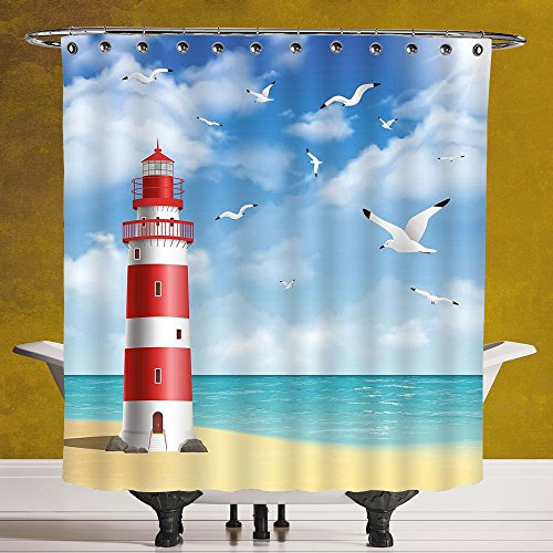 Vermilion Wood Lighthouse (Durable Shower Curtain 3.0 by SCOCICI [ Beach,Realistic Illustration Lighthouse on Calm Seashore Flying Seagulls Ocean Scenery Decorative,Vermilion Blue ] Fabric Bathroom Decor Set with Hooks)