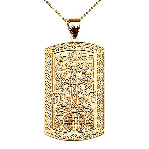 14k Engraveable Cross Pendant - Armenian Cross (Khachkar) 14k Yellow Gold Engraveable Dog Tag Pendant Necklace 22