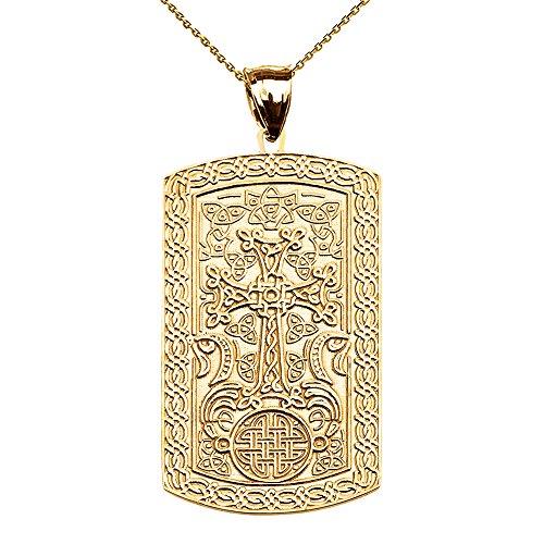 Armenian Cross (Khachkar) 10k Yellow Gold Engraveable Dog Tag Pendant Necklace 22