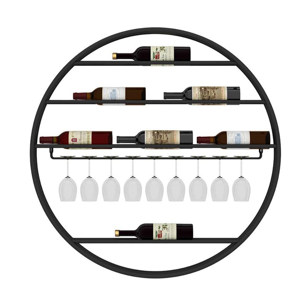 家庭用ラウンドワインラック|壁掛けワイングラスホルダー|壁の創造的なワインボトルのディスプレイスタンド|ゴブレットラック、3色 (色 : ブラック, サイズ さいず : Diameter 90CM) Diameter 90CM ブラック B07QJ1XCVL