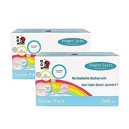 MOM EASY 400 Counts Easy-Tie Baby Disposable Diaper Sacks/Diaper Bags