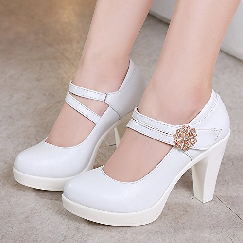High cm Jqdyl With Shoes heels Shallow 8 Female Autumn Buckle Spring Thick White Mouth Cheongsam With qZzZHc1dg